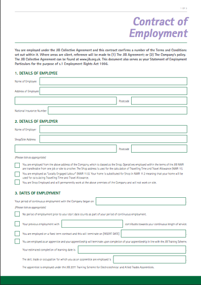 Template Contract Of Employment Joint Industry Board - Blank contract forms